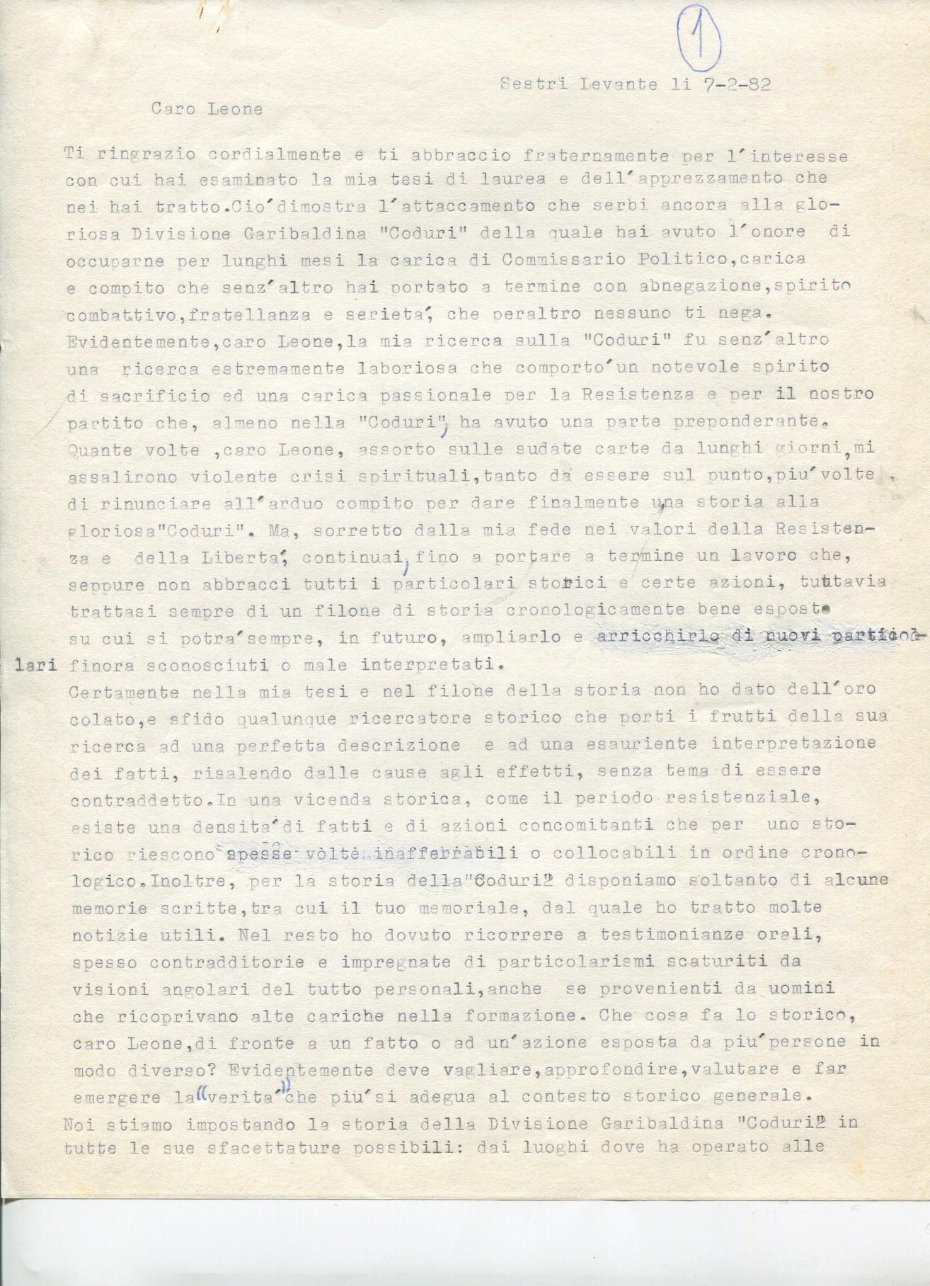 Lettera di Amato Berti a Bruno Monti Leone pag, 1