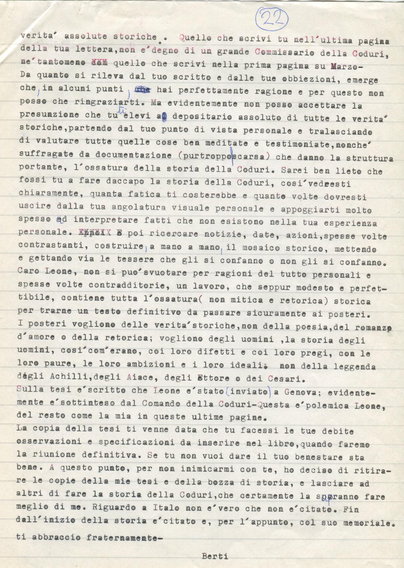 Lettera di Amato Berti a Bruno Monti Leone pag, 22