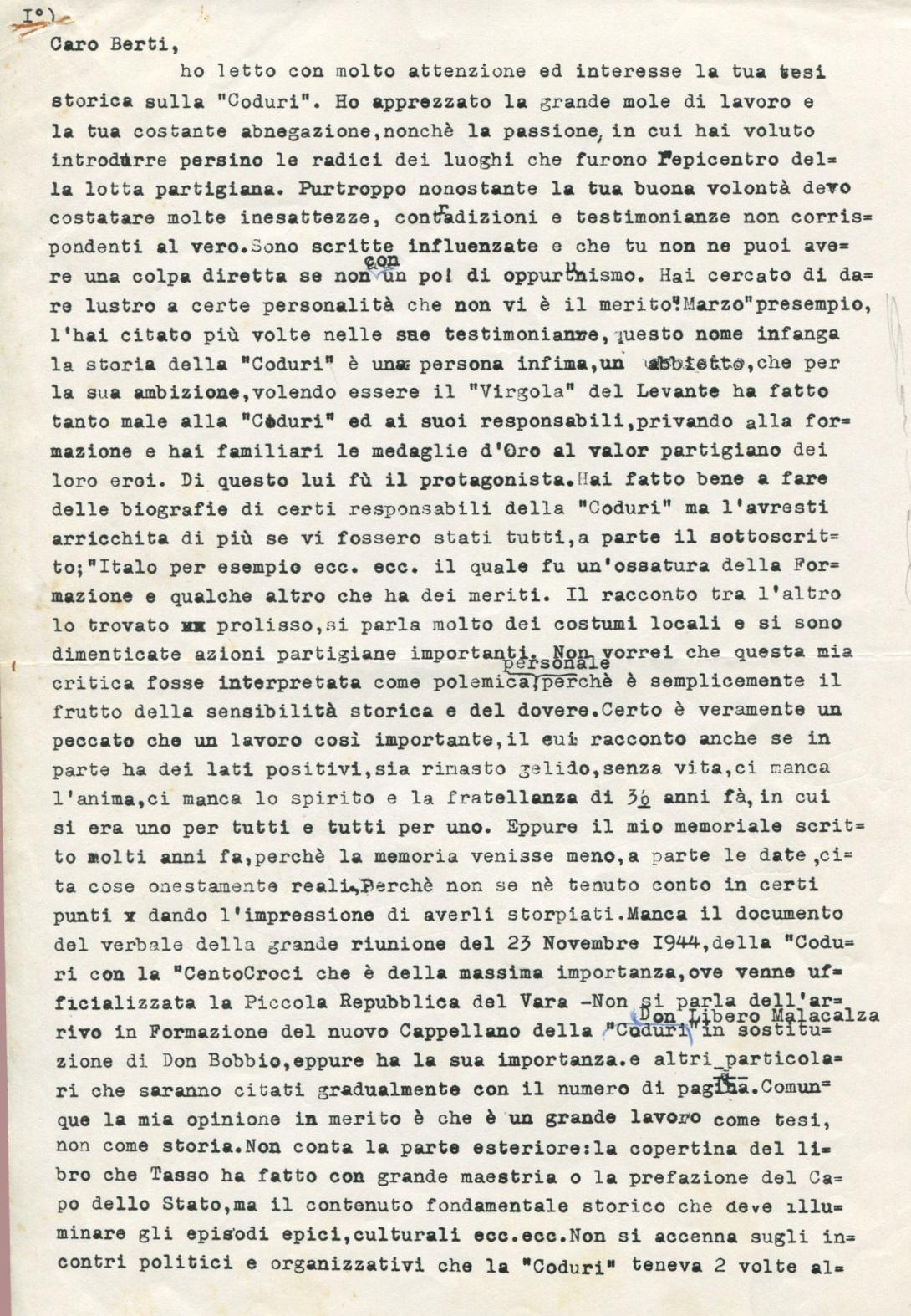 Lettera di Leone ad Amato Berti pag. 1