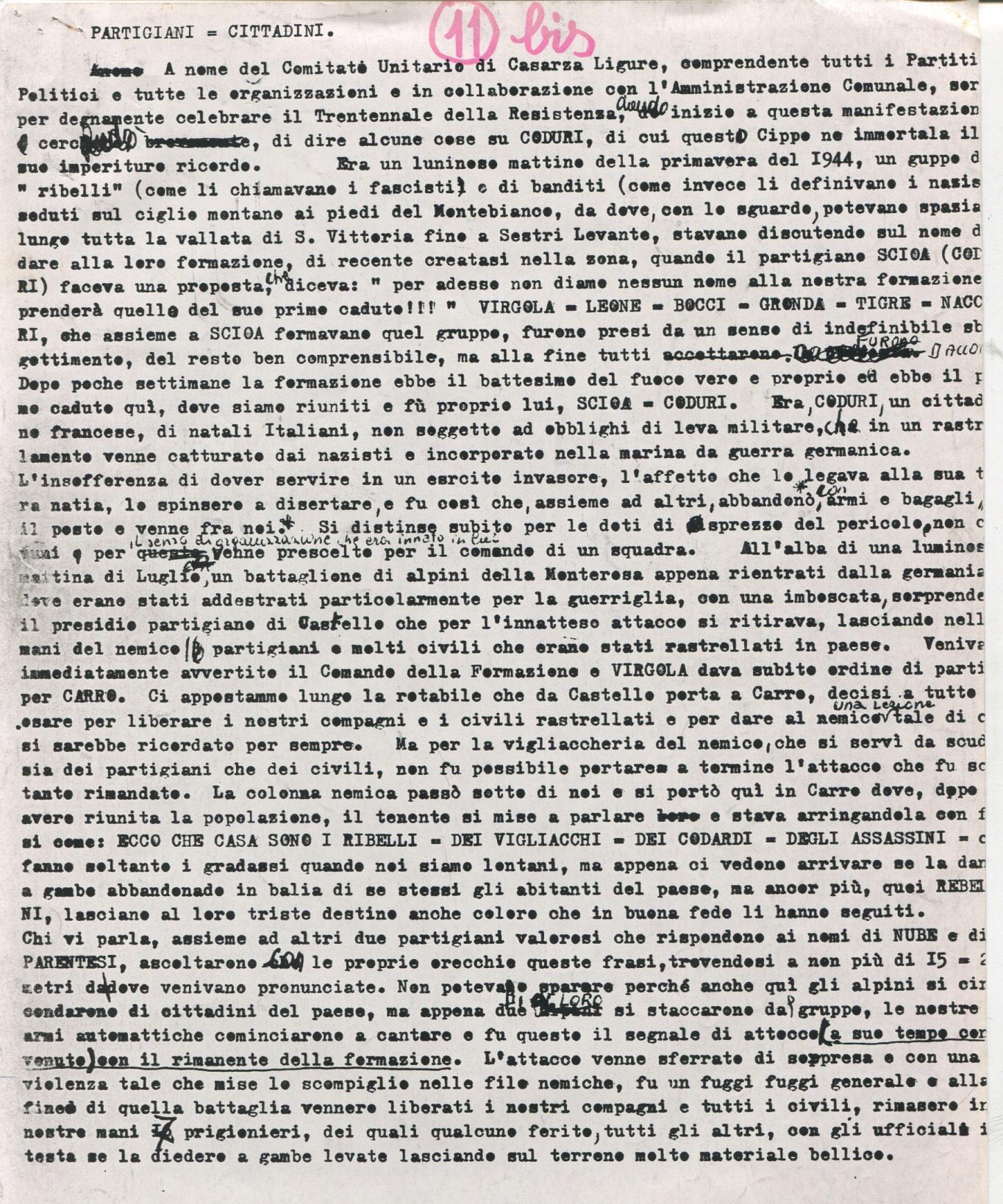 1 PROLUSIONE REDATTA E LETTA DA INCARICATO DEL COMITATO UNITARIO DI CASARZA LIGURE IN OCCASIONE DELLA CELEBRAZIONE DEL 25 APRILE 1975