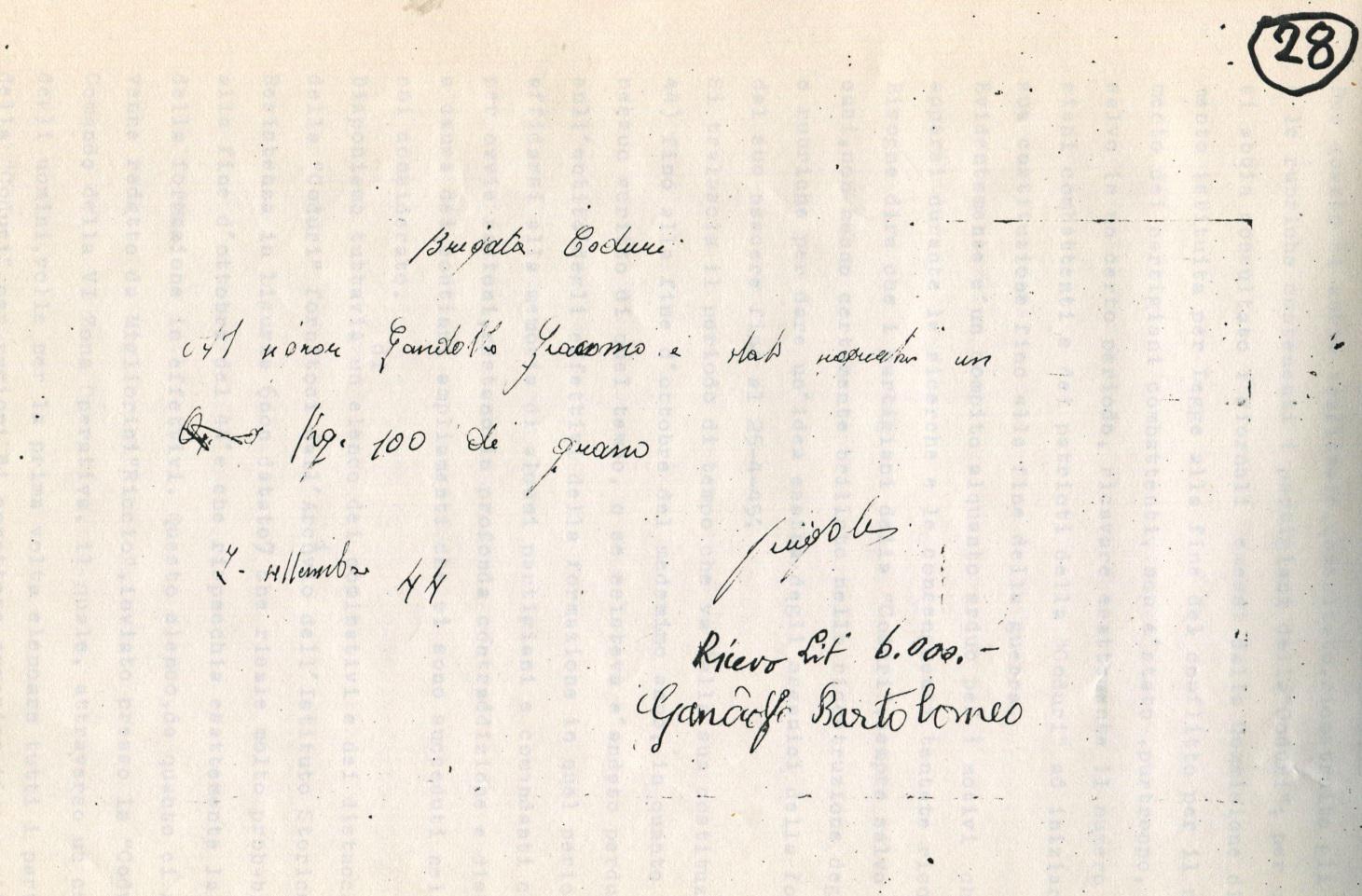 1 RICEVUTA PAGAMENTO FORNITURA Kg 100 DI GRANO