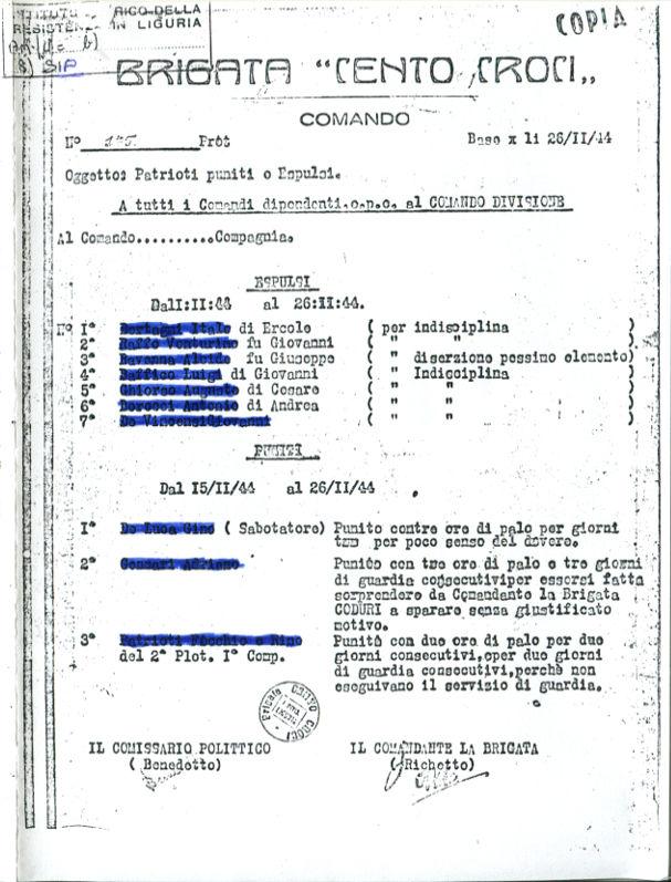 """Lettera della brigata """"Cento Croci"""", firmata commissario """"Benedetto"""" e comandante di Brg. """"Richetto"""""""