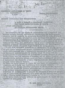 Fotocopia del sibillino comunicato prefettizio genovese teso a favorire il reclutamento dei lavoratori da inviare in Piemonte, e, invece, spediti poi in Germania