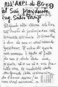 Lettera della sorella di Zelasco all'ANPI di Bergamo