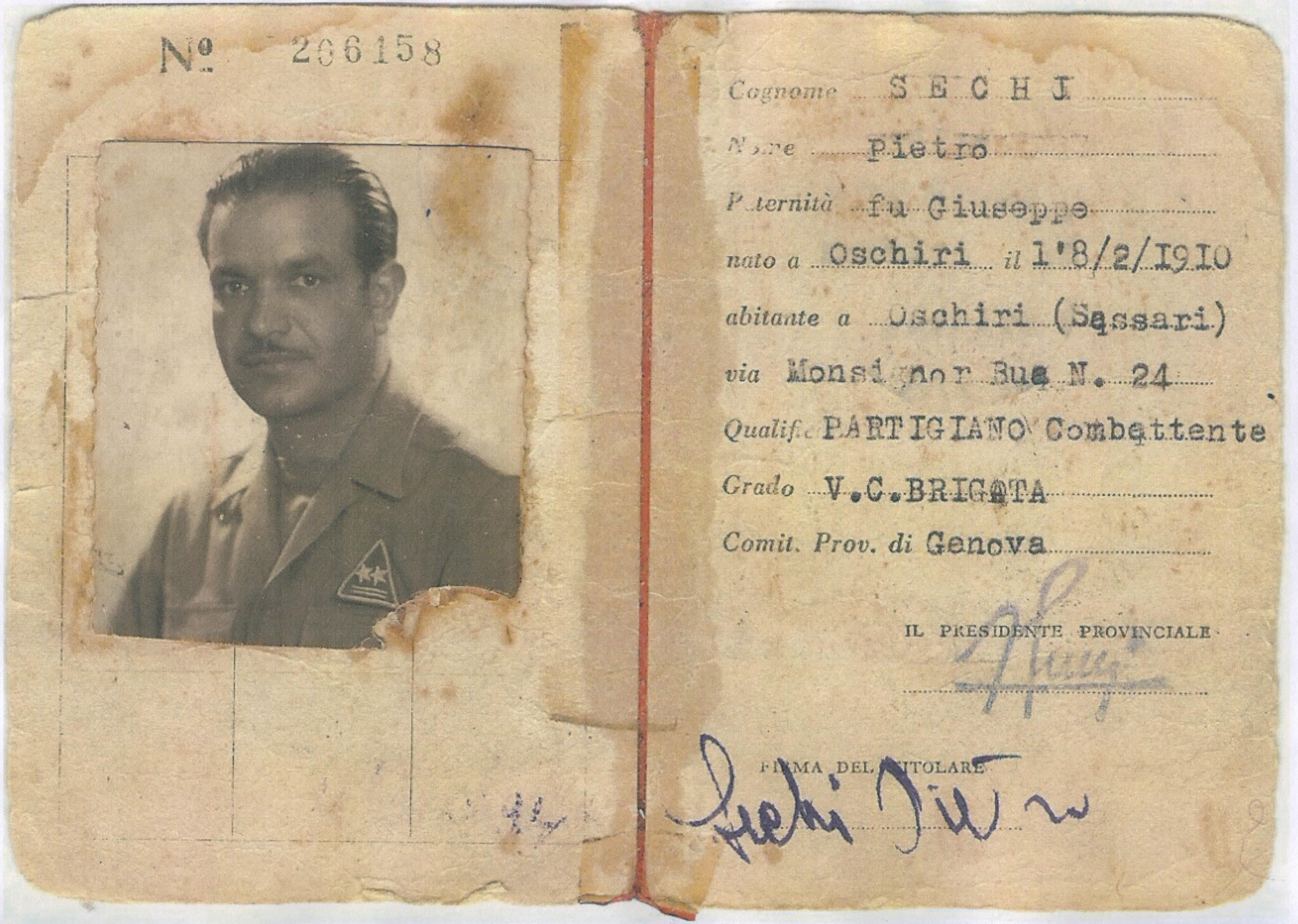"""Tessera di """"Succo"""" partigiano  con i gradi di V.C. di Brigata (Div.  """"Coduri"""") 45f90178626e"""